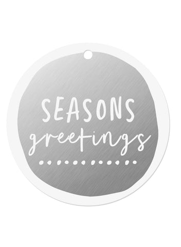 Silver Foil Seasons Greetings Gift Tags