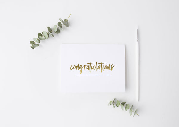 'Congratulations' Gold Foil Greeting Card