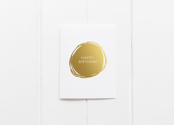 Happy Birthday Circle Gold Foil Greeting Card