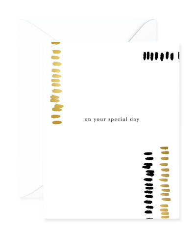 'On Your Special Day' Gold & Black Foil Greeting Card