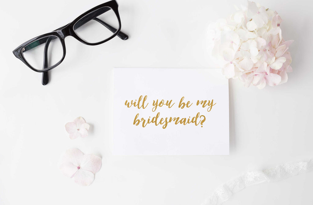 will you be my bridesmaid gold foil greeting card pennedblack