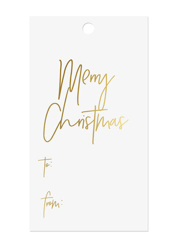 Gold Foil Merry Christmas Gift Tags