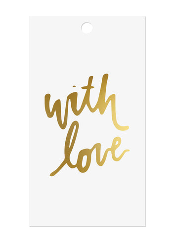 With Love Gold Foil Gift Tags