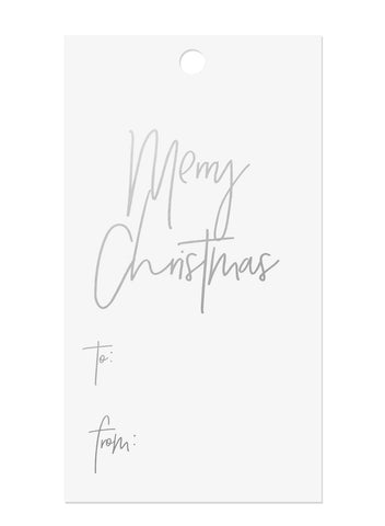 Silver Foil Merry Christmas Gift Tags
