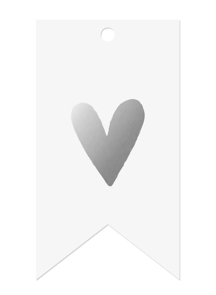 Heart Silver Foil Gift Tags