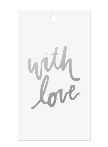 With Love Silver Foil Tags