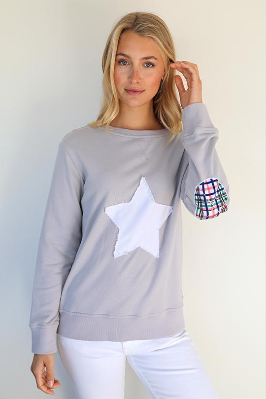 Bright Plaid Star Cotton Windy - French Grey