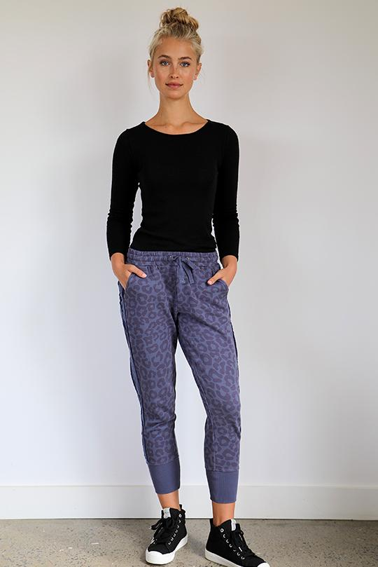 Leopard Frayed Stripe Cotton Tracky Pant - Old Navy
