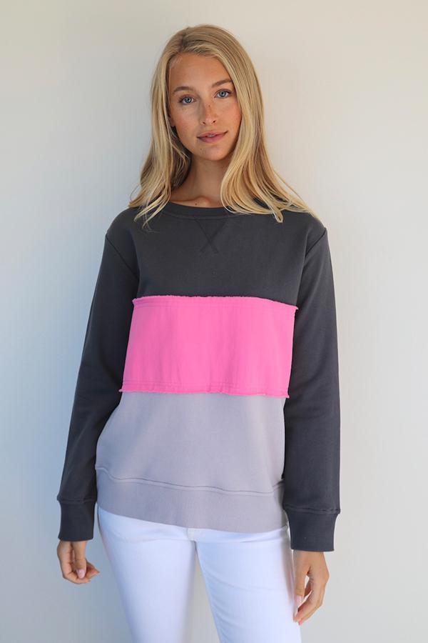 Frayed Stripe Cotton Windy  - Coal/Hot Pink & French Grey