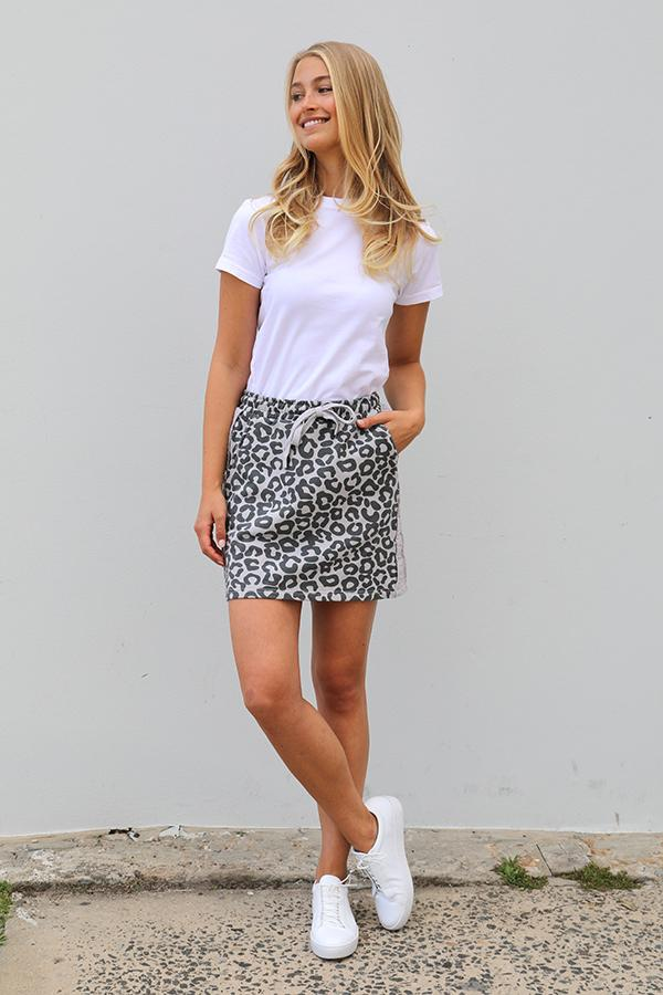 Frayed Stripe Cotton Skirty - Leopard French Grey