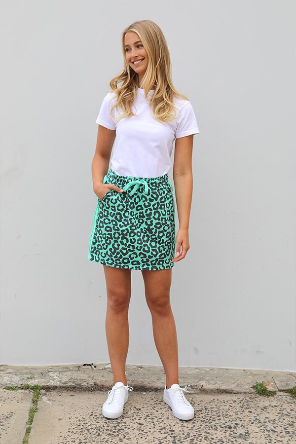 Frayed Stripe Cotton Skirty - Leopard Apple Green