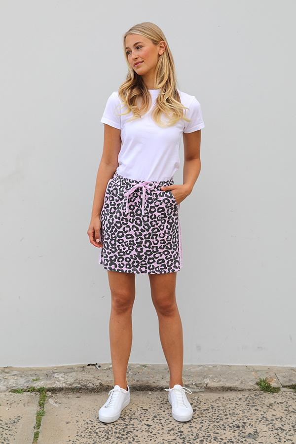 Frayed Stripe Cotton Skirty - Leopard Powder Pink