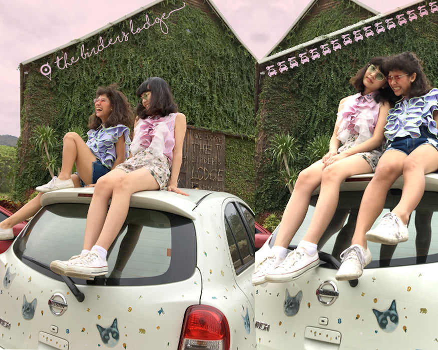 friends for the road, supersweet, super sweet, moumi, team moumi, meow, fashion, style, editorial, roadtrip, mukky, faii, girls, ss17, friends of mine, purrple label, jeans, candy stripe,  short shorts, shorts, denim, manooshby, shirt, sleeveless, mooshkin, catmobile