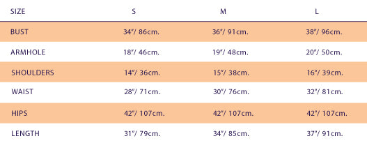 Size Chart for Ivanahelsinki Alexis Dress
