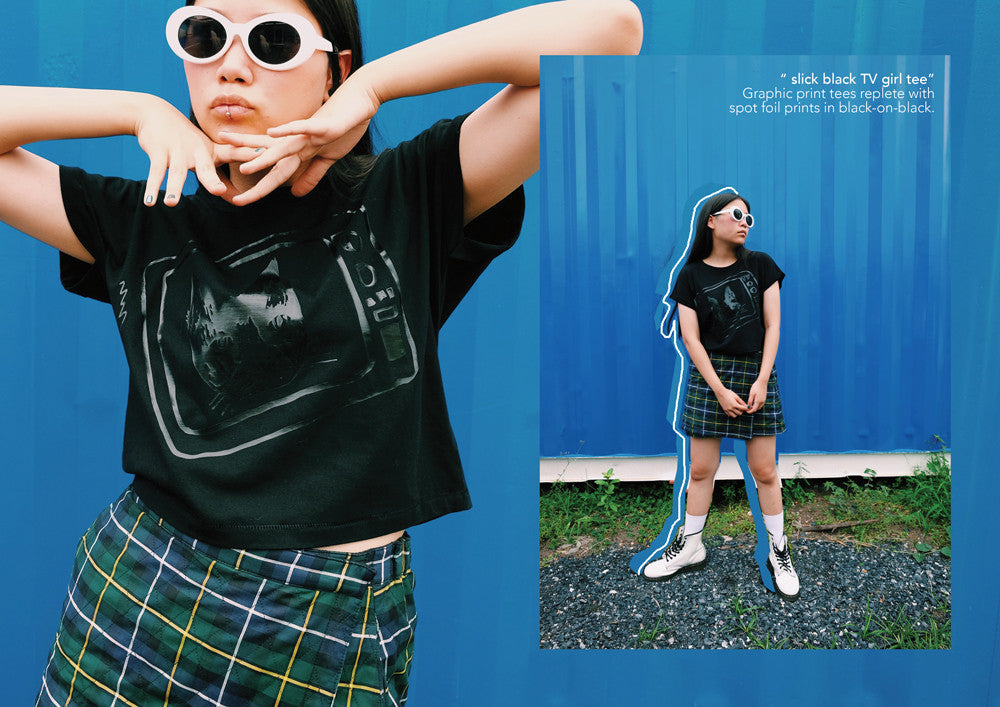 supersweet, super sweet, moumi, team moumi, meow, fashion, style, editorial, industrial, colorful, colourful, rebellious hearts, plern, peeraya pechpansri, tshirt, tee, shirt, top, black on black, tv, television, cat, black