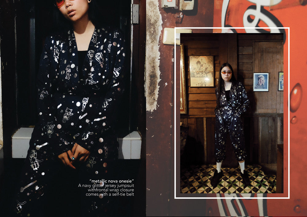 supersweet, super sweet, moumi, team moumi, meow, fashion, style, editorial, industrial, colorful, colourful, rebellious hearts, plern, peeraya pechpansri, nova onesie, onesie, jumpsuit, navy, black, silver, foil, print, space print, cosmic kitties, cat, cats,