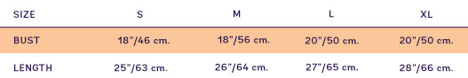 Size chart for SUPERSWEET x moumi  Pimm Cloudy Blue Guy Tee