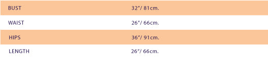 size chart for SUPERSWEET x moumi  Candy Stripe Teddy (sample)