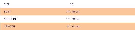 size chart for SUPERSWEET x moumi  Manooshby Shirt