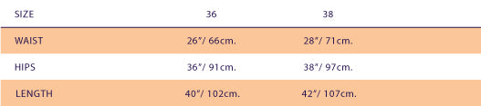 size chart for SUPERSWEET x moumi  Mooshkin Trousers