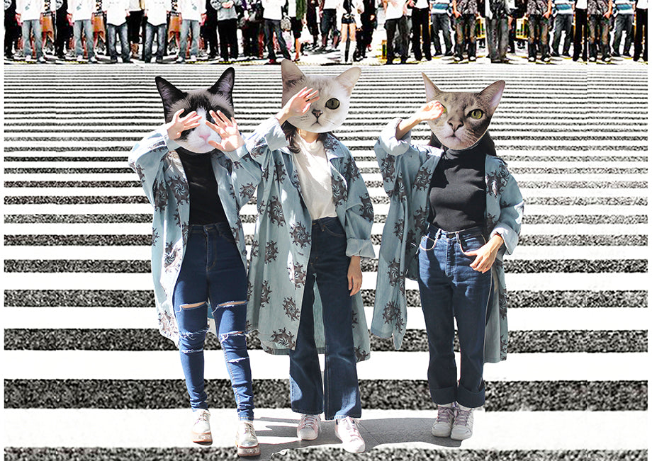supersweet, super sweet, pastel, fashion, style, art, photo shoot, editorial, layout, aw15, the weird and the wonderful, bangkok, thai girls, petite, bacc, museum, crosswalk, zebra crossing, jacket, denim, cats, cat print