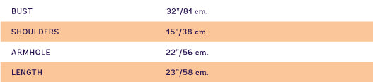 Size chart for SUPERSWEET x moumi Half Shirt