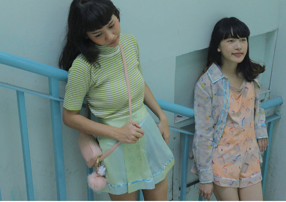 supersweet x moumi, photoshoot, editorial, fashion set, ss16, wish you were here, pastels, dungaree, green, mint, lime, bangkok, thai girls
