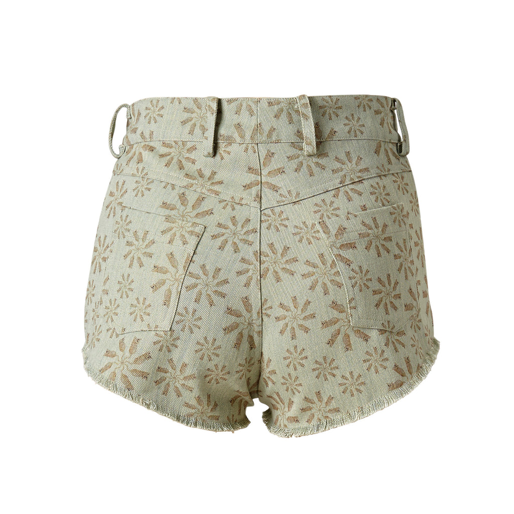 super sweet, supersweet, moumi, shorts, short, hot pants, denim, stretchy, frayed, distressed, washed, blue, floral, cats, cat print, myogi, faded, sexy, jeans