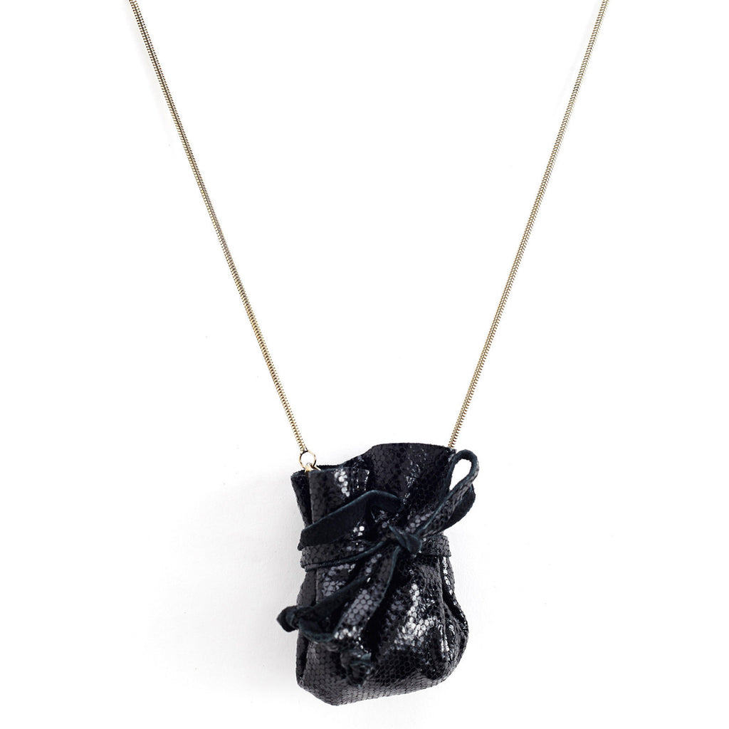 black, pouch, gold necklace, chain, marbles, containing, sunday's best, sale, hipster