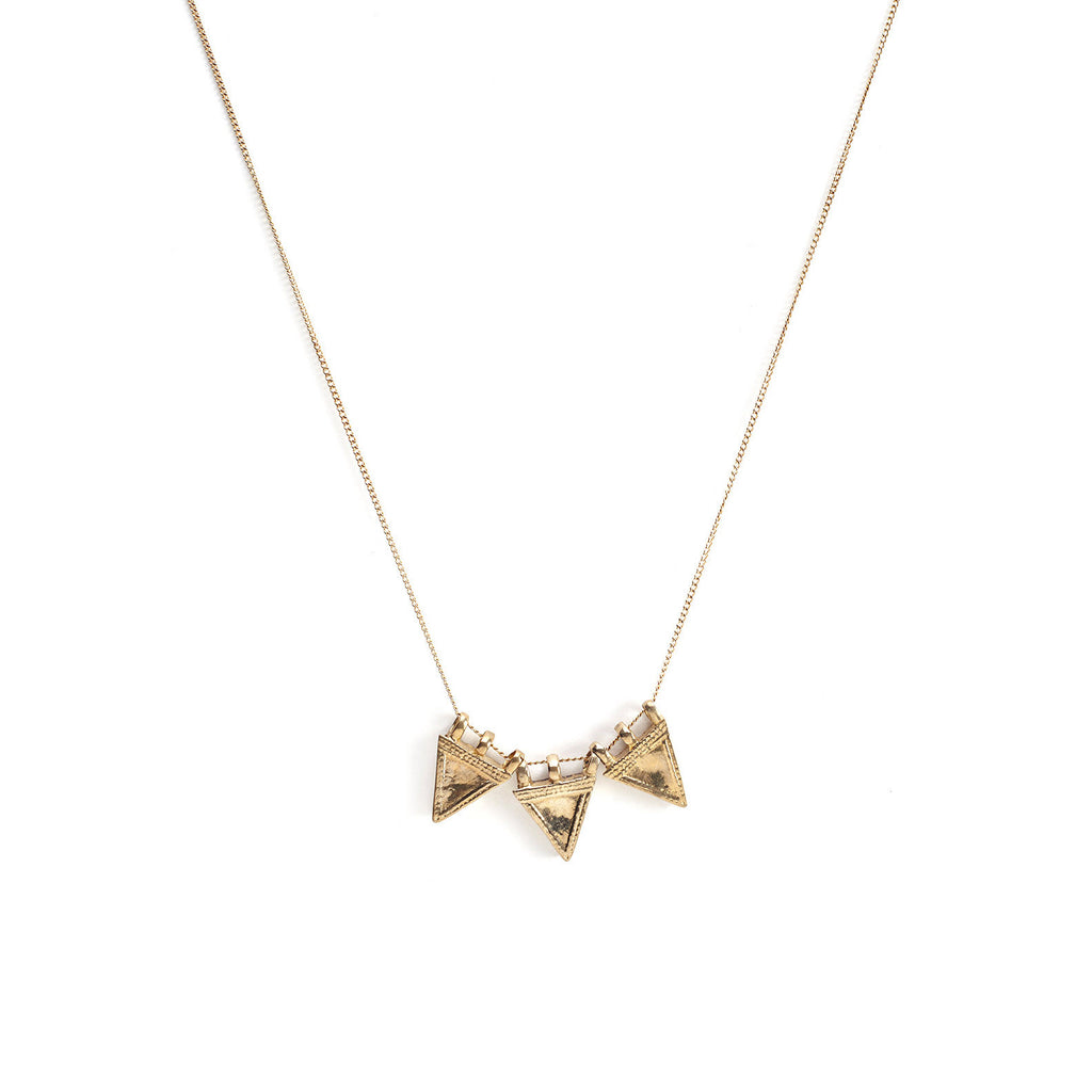 sunday's best, jewelry, jewellery, accessories, accessory, designer, brooklyn, new york, vermiel, necklace, charm, charms, chain, gold, brass, triangle, triple