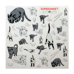 SUPERSWEET x moumi, supersweet, super sweet, moumi sticker, stickers, yellow, transparent, pvc, tigers, bang bang, meow, cat, cats, cat print, diy, craft, art