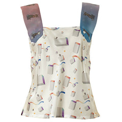camisole, cami, bias cut, silk, acetate, print, cats, cat print, organdie, straps, blocks, supersweet, moumi