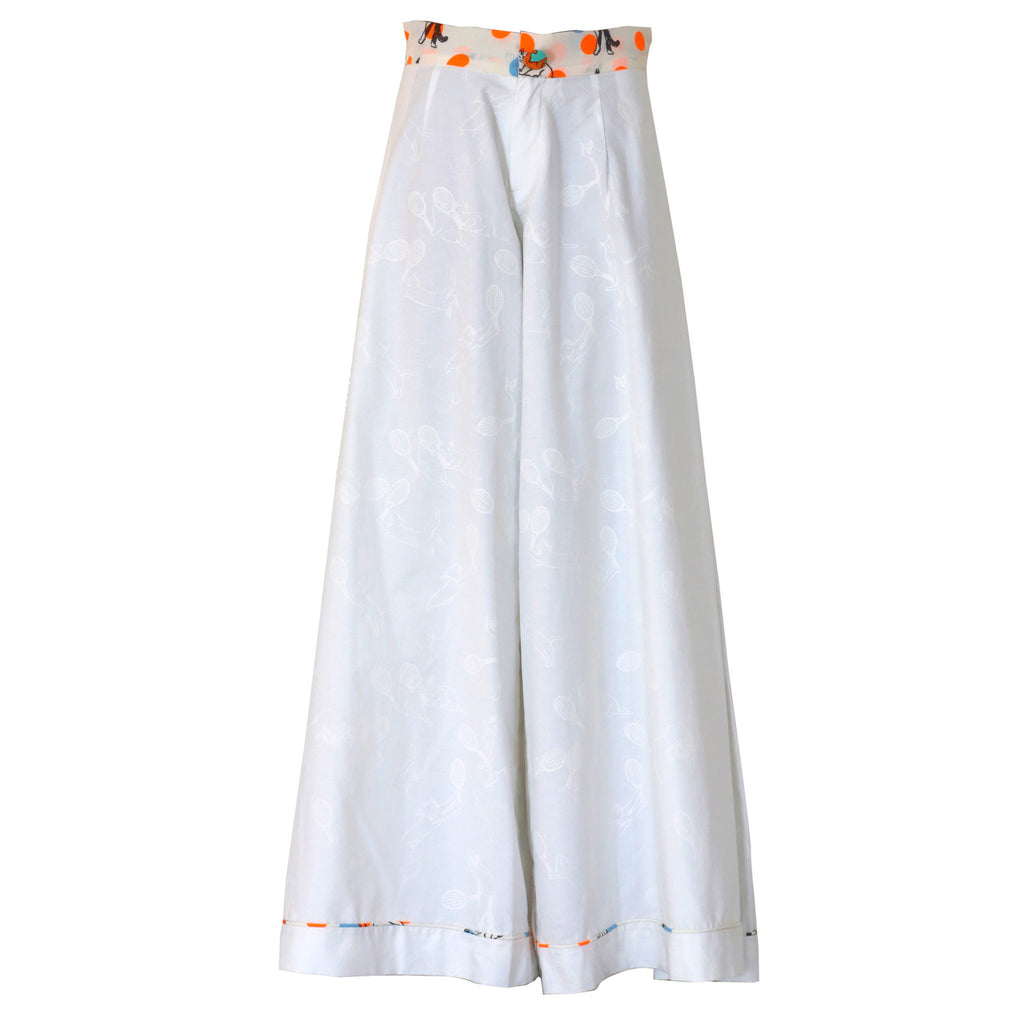 white, trousers, oxford, supersweet, moumi, designer cat, white on white, print, cat print, cotton, trousers, flares, bianca jagger, wide legged, pants, smart, summer