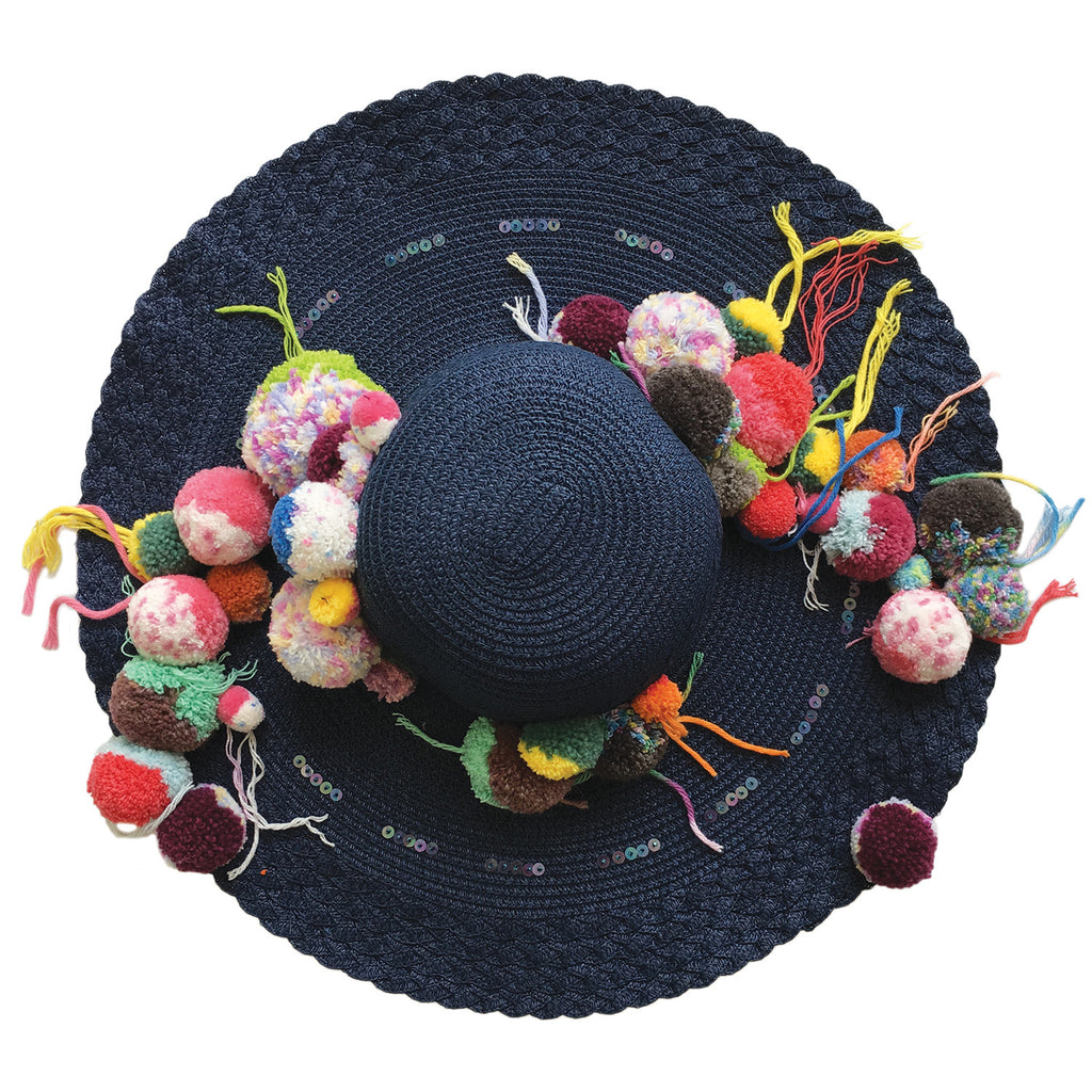 wide brim, hat, straw, hand made, supersweet, moumi, colourful, super sweet, embroidery, beads, sequins, pom pom, multicolour, pom poms, natural, raw, beige, navy, blue, dark