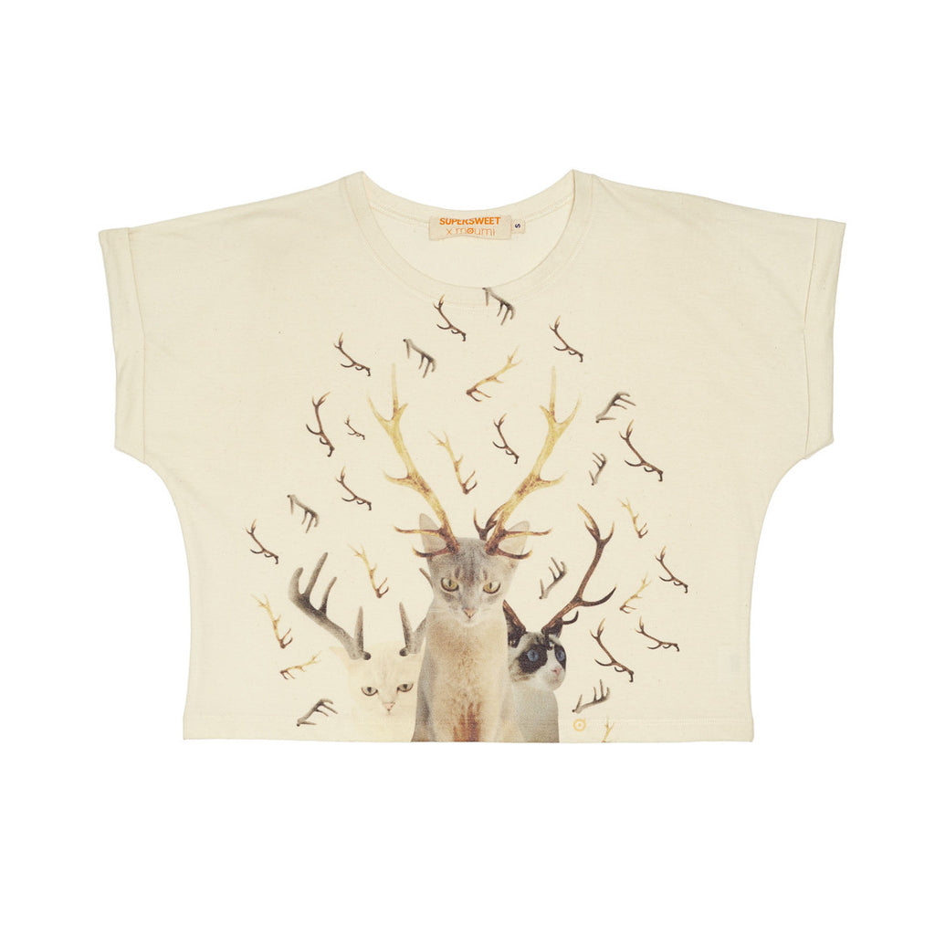 deerkittens, girl, cropped, female, ladies, womens, tee, tshirt, t shirt, top, deers, deerkitten, deercat, cats, abyssian, cat print, antlers, hinds, hinds band, viva hinds, bangkok, concert, band merch, moumi, supersweet, natural, organic