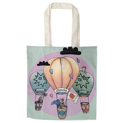 supersweet, super sweet, moumi, designer cats, crazy cat lady, meow, myogi, kikilala, balloons, around the world, clouds, tote, shopping, bag, canvas, cotton, pastel, green, pink, black clouds