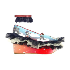 red, metallic, cosmic, kitties, cats, kittens, space, frills, ruffles, mesh, glitter tulle, tulle, navy, frilly, wedge, shoes, platforms, metallic trims, moumi, superweet, heels, cats, cat prints, astronaut, anklets, cat, clouds, pegasus, platform, wedge, crazy cat lady, glitter tulle, navy, black, red