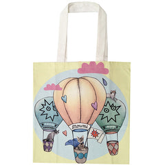 supersweet, super sweet, moumi, designer cats, crazy cat lady, meow, myogi, kikilala, balloons, around the world, clouds, tote, shopping, bag, canvas, cotton, pastel, yellow, pink, blue