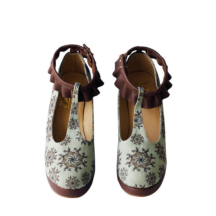 supersweet, super sweet, moumi, shoes, croon, tutu, tulle, ruffles, frills, boots, booties, wedge, heel, wooden, cat, cats, cat print, crazy cat lady, collaboration, shoes, footwear, leather, denim, washed, beige, neutral, t-bar, t bar, brown, blue
