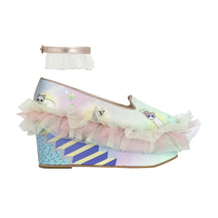 purple, pastel, light, frills, ruffles, mesh, glitter tulle, tulle, lilac, lavender, frilly, wedge, shoes, platforms, metallic trims, moumi, superweet, heels, cats, cat prints, angels, heaven, anklets, cat angels
