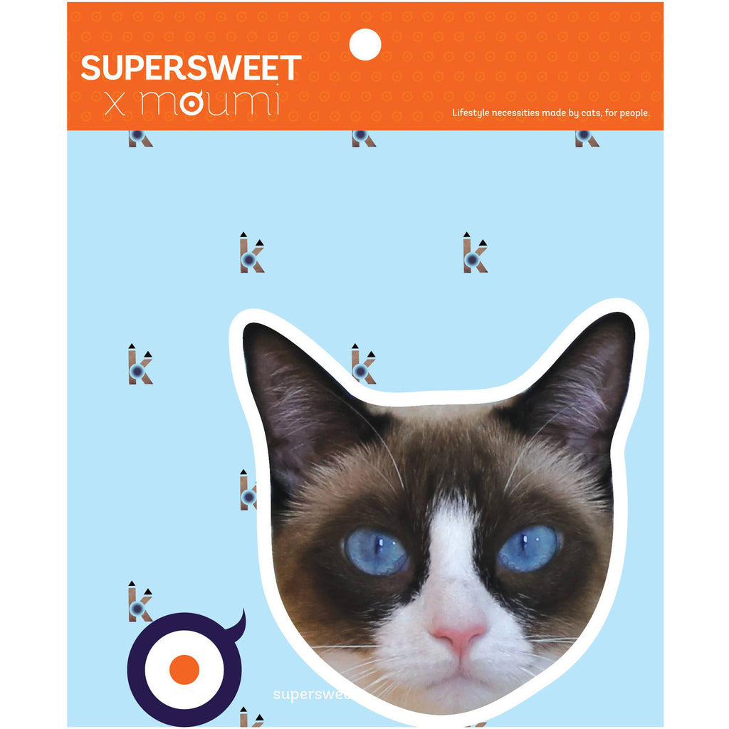 supersweet, moumi, kikilala, snowshoe, cat, cats, sticker, stickers, cat print, cat stuff, hologram, pvc, glitter sticker, glitter eyes, diy, art, craft, large, big head