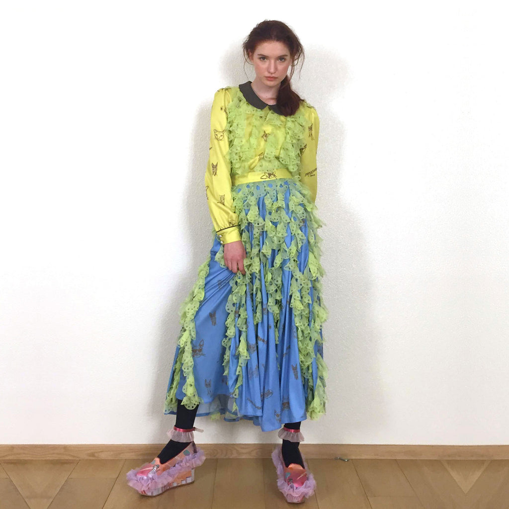 lime, green, bubblegum, laser cut, lace, frills, blue, pop, petal, skirt, long, midi, super sweet, supersweet, moumi, feminine, blue, pantone
