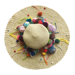 wide brim, hat, straw, hand made, supersweet, moumi, colourful, super sweet, embroidery, beads, sequins, pom pom, multicolour, pom poms, natural, raw, beige