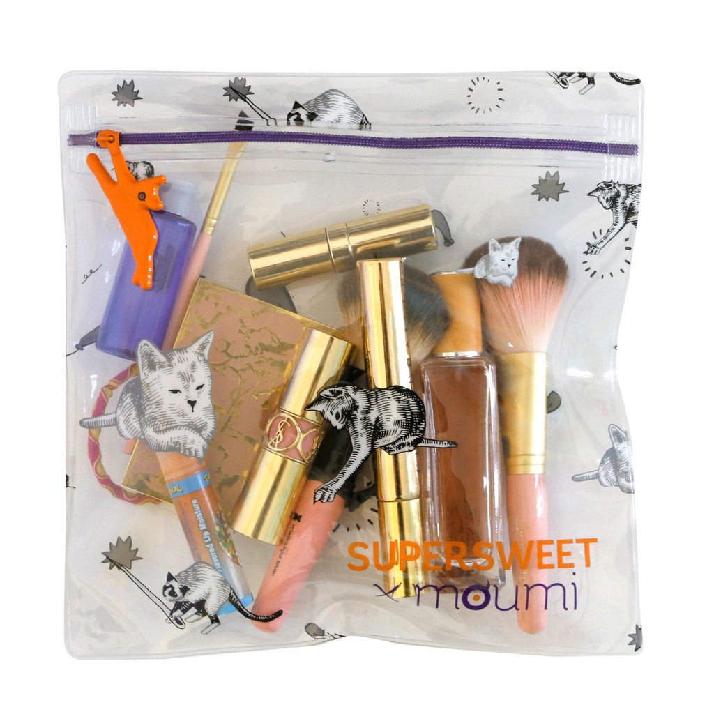 supersweet, moumi, airline, bag, stationery, pencil case, cosmetic, transparent, pvc, clear, cat zipper, cat print, ziplock