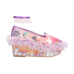 frilly wedge, wedges, platforms, platform, pink, tulle, ruffles, ombre, miami, supersweet, moumi, cat print