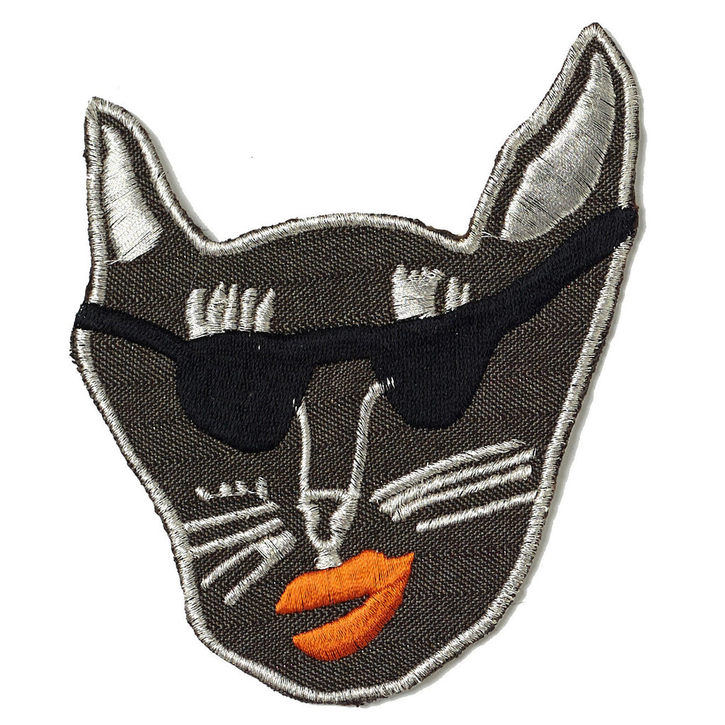 brown, gaberdine, patch, large, big, supersweet, super sweet, moumi, shades, sunglasses, sunnies, cat, cat head, embroidered, lipstick, moumi, meow, cat, cats, cat lover, crazy cat lady, cat product, iron on, patches, patch, tangerine