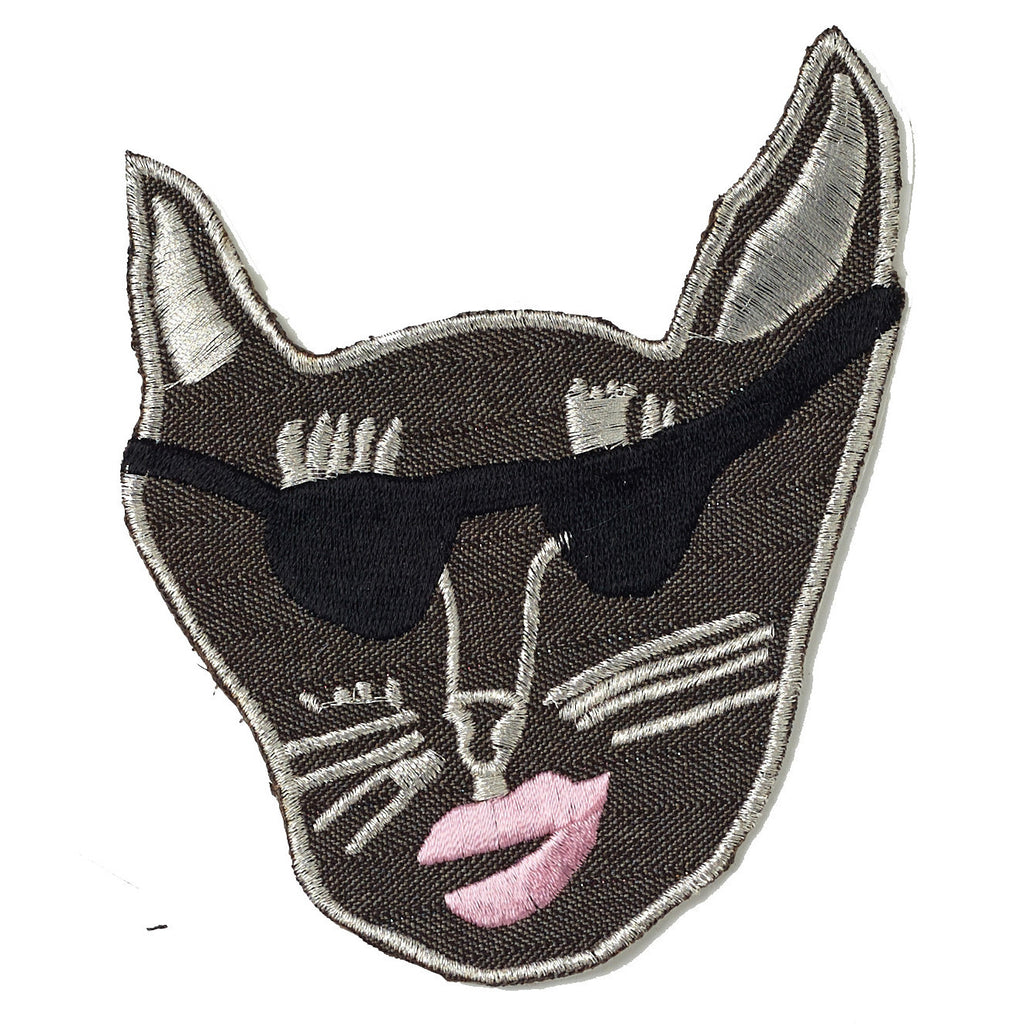 brown, gaberdine, patch, large, big, supersweet, super sweet, moumi, shades, sunglasses, sunnies, cat, cat head, embroidered, lipstick, moumi, meow, cat, cats, cat lover, crazy cat lady, cat product, iron on, patches, patch, baby pink