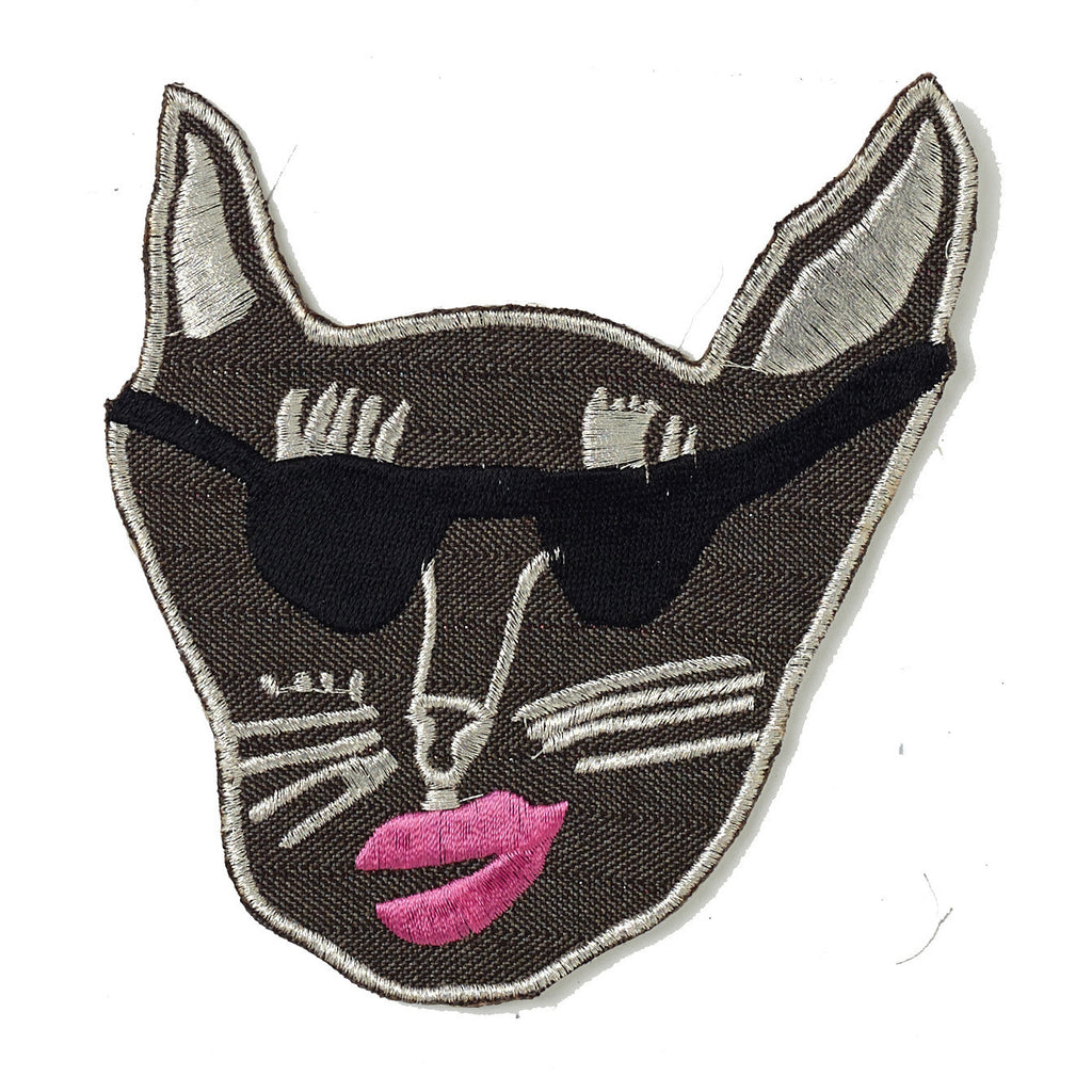 brown, gaberdine, patch, large, big, supersweet, super sweet, moumi, shades, sunglasses, sunnies, cat, cat head, embroidered, lipstick, moumi, meow, cat, cats, cat lover, crazy cat lady, cat product, iron on, patches, patch, fuschia