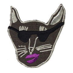 brown, gaberdine, patch, large, big, supersweet, super sweet, moumi, shades, sunglasses, sunnies, cat, cat head, embroidered, lipstick, moumi, meow, cat, cats, cat lover, crazy cat lady, cat product, iron on, patches, patch, grape
