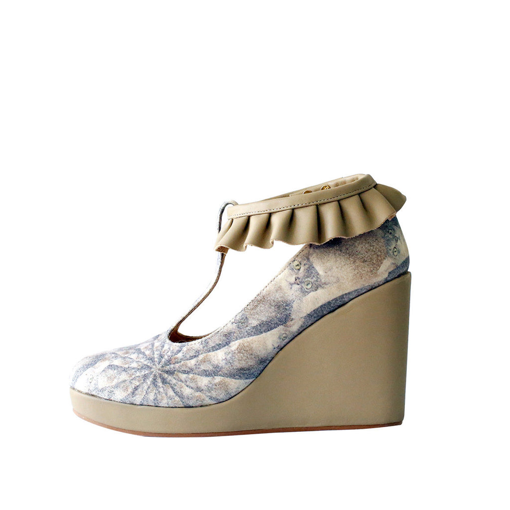 supersweet, super sweet, moumi, shoes, croon, tutu, tulle, ruffles, frills, boots, booties, wedge, heel, wooden, cat, cats, cat print, crazy cat lady, collaboration, shoes, footwear, leather, denim, washed, beige, neutral, t-bar, t bar, beige